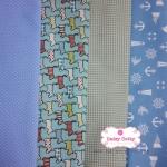 Set 4 ชิ้น :ผ้าคอตตอนลินิน ลายสุนัข + ผ้าคอตตอนไทย 3 ลาย โทนสีฟ้า