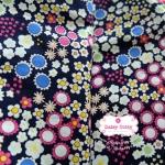 ผ้าคอตตอนไทย 100% 1/4 ม.(50x55ซม.) พื้นสีน้ำเงินกรมท่า ลายสวนดอกไม้