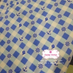 ผ้าคอตตอนไทย 100% 1/4 ม.(50x55ซม.) ลายตาราง สมอเรือ โทนสีฟ้า