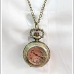 สร้อยคอโกธิคโลลิต้า จี้ล็อกเก็ตนาฬิกา ขนาดเล็ก หน้าปัดกระจกเหลี่ยม สีทองโบราณ