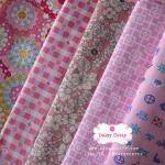 Set 5 ชิ้น: ผ้าคอตตอน100% 5 ลาย โทนสีชมพู