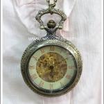 สร้อยคอโกธิคโลลิต้า จี้ล็อกเก็ตนาฬิกา ระบบออโต้ ขนาดใหญ่ สีทองโบราณ ฝากระจกใส