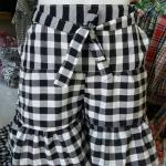 #กางเกงขาสั้นแบบต่อระบายผ้าขาวม้าฝ้าย แบบขาวดำ, แบบสี ฝ้าย 100%