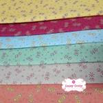 Set 6 ชิ้น : ผ้าคอตตอนไทย ลายดอกไม้เล็กๆ 6 สี
