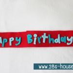 สายผ้าคาด ผ้าห่มม้วนตุ๊กตา วันเกิด (Happy Birthday) สีแดง ## พร้อมส่งค่ะ ##