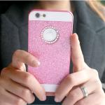 เคสไอโฟน 6/6s (Hard Case ) กรอบกากเพชรสีชมพูประดับเพชรวงกลมแอปเปิ้ล