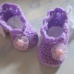 รองเท้าเด็กไหมพรม สีม่วงสดใส น่ารักๆ