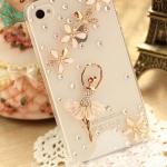 เคสไอโฟน 5C (Hard Case) ( เคสไอโฟนกรอบโปร่งใส ประดับเพชร หรูหรา สาวเต้นบัลเล่ย์ กระโปรงกรีบดอกไม้ )