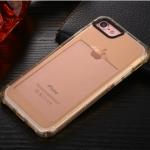 เคสไอโฟน 6Plus/6sPlus (เคสยางนิ่ม + ที่สอดนามบัตร + เรืองแสงได้ +กันกระแทกเครื่อง) แบบทองใส