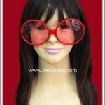 แว่นตากรอบกลมใหญ่สีแดง เลนส์ใส Fancy Party Cosplay Glasses
