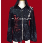 เสื้อแจ็คเก็ตพั้งค์ สไปเดอร์เว็บ สีดำ Black Spider Web Punk Jacket มีฮู้ด ด้านหลังเป็นรอยขาดรูปใยแมงมุม