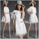 Lady Florence Bohemian Chic Fringed White Lace Dress