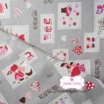ผ้าคอตตอนไทย 100% 1/4 ม.(50x55ซม.) พื้นสีเทา ลายSue in Sakura