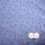 ผ้าคอตตอนไทย 100% 1/4 เมตร พื้นสีม่วง ลายดอกแดงชมพู
