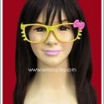 แว่นตาคิตตี้ กรอบสีเหลือง โบว์ชมพู ไร้เลนส์ Fancy Cosplay Glasses