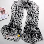 ผ้าพันคอชีฟอง เสือดาวสีดำสีขาว ( รหัส P46 )