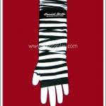 ปลอกแขนพังค์ ลายริ้ว สีขาวดำ Black and White Punk Arm Warmer