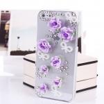 เคสไอโฟน 5/5s (Case iphone 5/5s) เคสไอโฟนกรอบใส ประดับโบว์มุกและดอกกุหลาบม่วง
