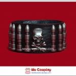 สร้อยข้อมือพังค์ ทำจากหนังแท้ Punk Leather Wristband ตกแต่งด้วยกระสุนและกะโหลกสีนิเกิลรมดำ