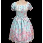 เดรสโกธิคโลลิต้า พาสเทลโมทีฟ สีฟ้า Sax Pastel Motive Lolita Gothic Dress