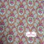ผ้าคอตตอนไทย 100% 1/4 ม.(50x55ซม.) พื้นสีน้ำตาลส้ม ลายไทย