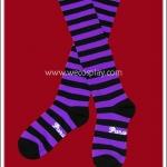 ถุงเท้าโกธิคโลลิต้าพังค์ ยาวระดับเข่า ลายขวาง สีม่วงดำ
