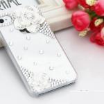 เคสไอโฟน 4/4s กรอบโปร่งใสประดับเพชรและดอกกุหลาบขาว