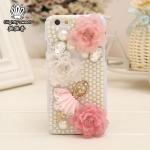 เคสไอโฟน 6 Plus (Hard Case ) กรอบขาวมุกประดับสาวบัลเลย์กระโปรงชมพูและดอกไม้