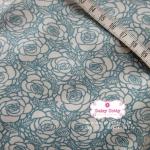 ผ้าคอตตอนไทย 100% 1/4 ม.(50x55ซม.) พื้นสีขาว ลายเส้นกุหลาบสีฟ้า