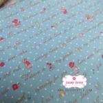 ผ้าคอตตอนไทย 100% 1/4ม.(50x55ซม.) Sue in Garden พื้นสีฟ้า