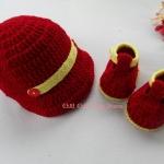 เซ็ทรองเท้า+หมวกแก็ปสีแดง 6-8 เดือน *ส่งฟรี EMS