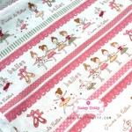 ผ้าคอตตอนไทย 100% 1/4ม.(50x55ซม.) พื้นสีขาว ลายตุ๊กตาบัลเล่