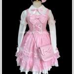 ชุดโลลิต้า Angelic Pretty สีชมพูขาว พร้อมที่คาดผม กระเป๋า ถุงเท้า Sweet Pink Lolita Set