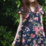 พร้อมส่ง ::MO213:: เดรสแฟชั่นเกาหลี ผ้าฝ้ายพื้นชุดสีกรมท่า สกรีนลายดอกไม้ แบบสวม