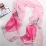 ผ้าพันคอผ้าไหม ลายญี่ปุ่นสีชมพู ( รหัส P87 )