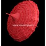 ร่มโกธิคโลลิต้า สีแดง ยอดแหลม ติดระบายรอบคัน Red Gothic Lolita Parasol