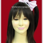 กิ๊บติดผมโบว์สีชมพู ประดับด้วยลูกไม้สีขาว Pink Ribbon with White Lace Hairpin