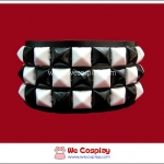 สร้อยข้อมือพังค์ Punk Wristband ตอกหมุด 3 แถวเล็ก สีขาวดำ ตาหมากรุก
