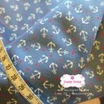 ผ้าคอตตอนไทย 100% 1/4ม.(50x55ซม.) พื้นสีฟ้า ลายสมอเรือเล็ก