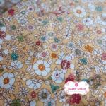 ผ้าคอตตอนไทย 100% 1/4 ม.(50x55ซม.) พื้นสีเหลือง ลายดอกไม้