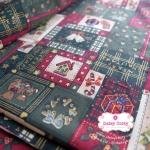 ผ้าคอตตอนไทย 100% 1/4 ม.(50x55ซม.) ลายคริสมาสต์ โทนสีเขียว