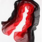 ผ้าพันคอผ้าไหม สีดำแดง ( รหัส P60 )