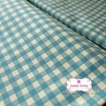 ผ้าคอตตอนลินิน 1/4ม.(50x55ซม.) พื้นสีครีม ลายตารางสีฟ้า