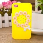 เคสไอโฟน 4/4s เคสไอโฟนกรอบเหลืองประดับดอกไม้