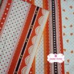 ผ้าคอตตอนไทย 100% 1/4 ม.(50x55ซม.) ผ้าแถบสลับสี โทนสีส้มน้ำตาล