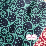 ผ้าคอตตอนไทย 100% 1/4 ม.(50x55ซม.) ลายดอกไม้ โทนสีเขียวน้ำเงิน