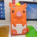 เคสไอโฟน 5/5s/SE (Case Iphone 5/5s/SE) เคสซิลิโคน หมูน้อย สีส้ม