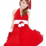 xm008 ชุดแซนตี้ ชุดซานต้าสาว แซกคล้องคอ พร้อมหมวกและถุงมือคะ