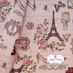 ผ้าคอตตอนลินิน 100% 1/4 เมตร พื้นสีชมพูหวาน ลายวินเทจปารีส