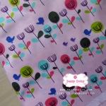 ผ้าคอตตอนไทย 100% 1/4ม.(50x55ซม.) ลายดอกไม้วินเทจ พื้นสีชมพู